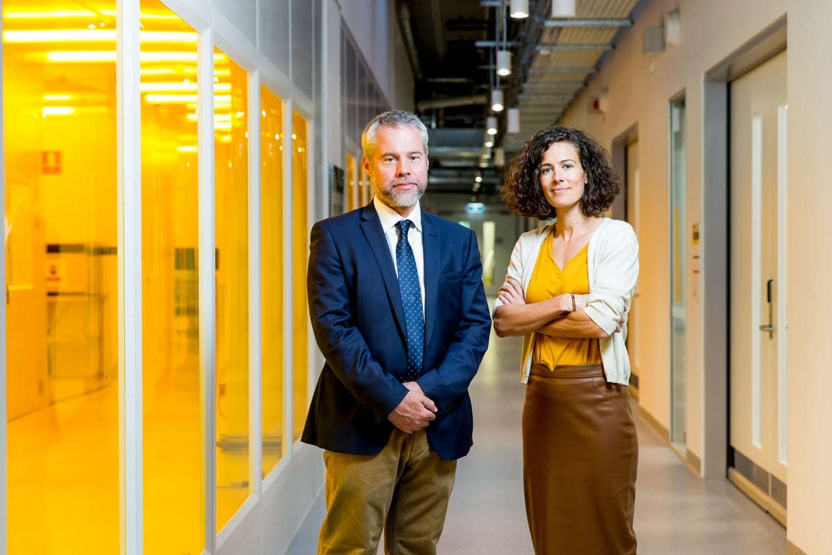 Professor Ben Eggleton and Dr Andrea Blanco Redondo in the Sydney Nanoscience Hub
