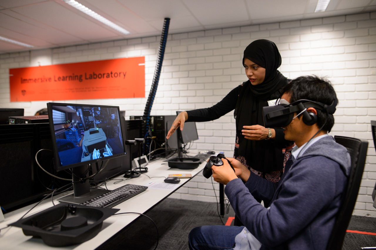 Students use Oculus Rift headsets in the new Immersive Learning Laboratory.