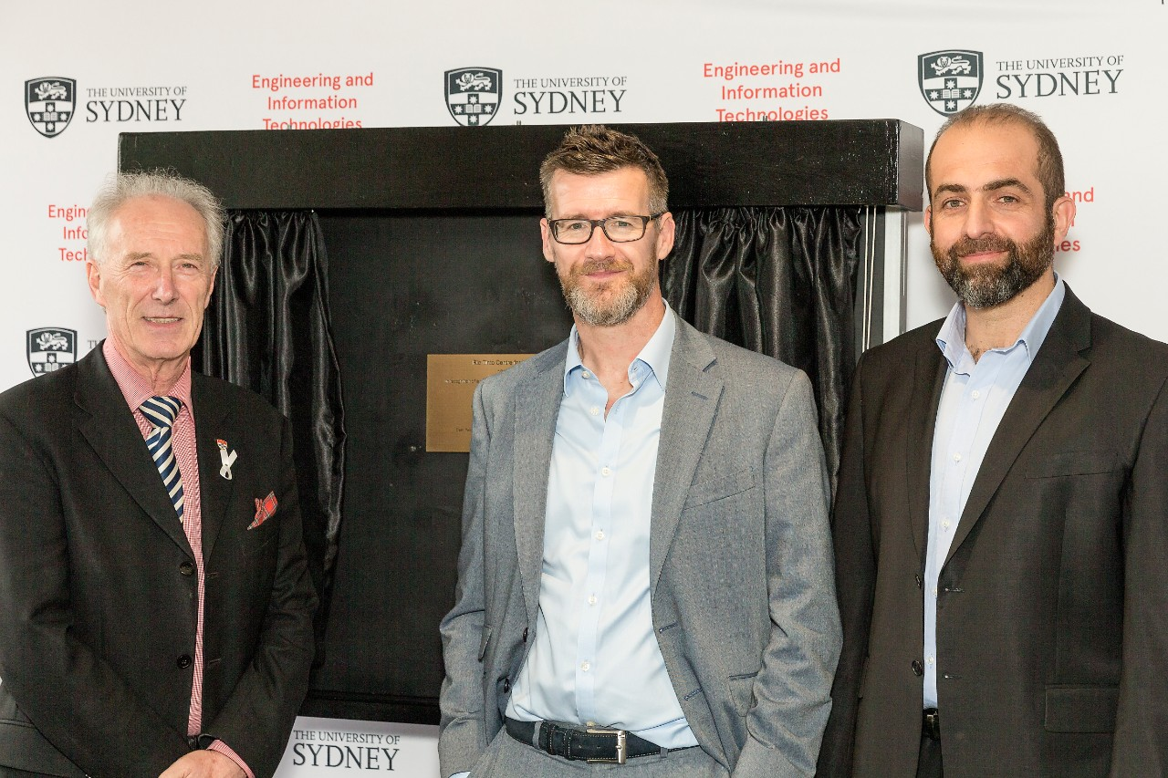 (L-R) Professor Archie Johnston, Dean, Faculty of Engineering and Information Technologies, Rob Atkinson, Rio Tinto's head of Productivity & Technical Support, and Professor Salah Sukkarieh, Program Lead, Rio Tinto Centre for Mine Automation.