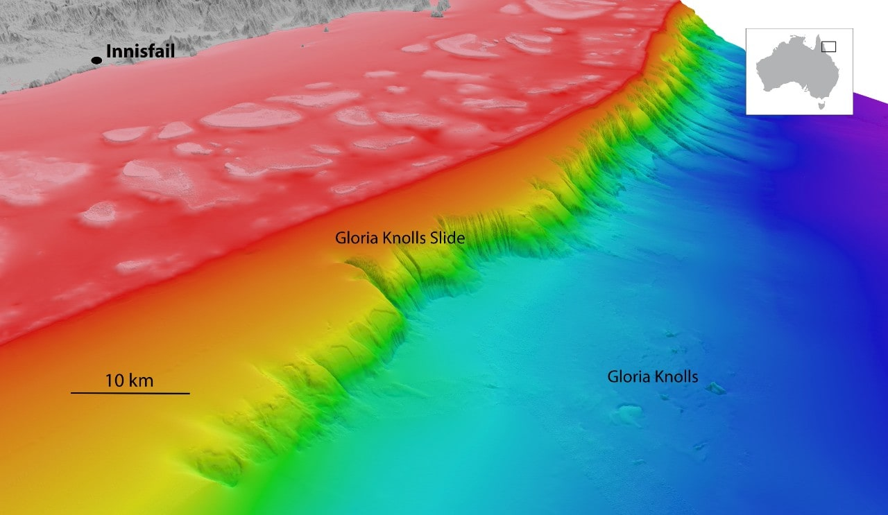 North-westerly view of the Gloria Knolls Slide and Gloria Knolls off Innisfail. Depths are coloured red (shallow) to blue (deep), over a depth range of about 1700 metres.