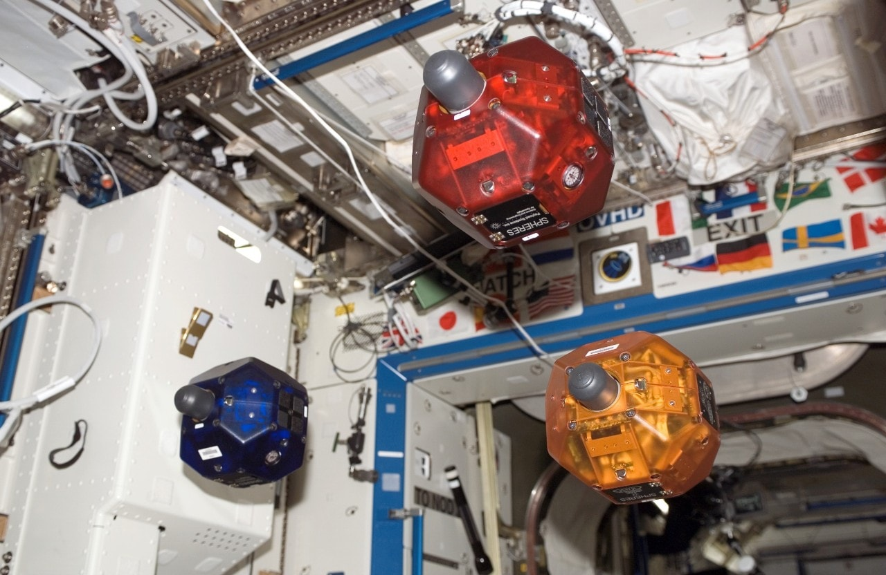 The SPHERES in action on the International Space Station. Image courtesy: NASA