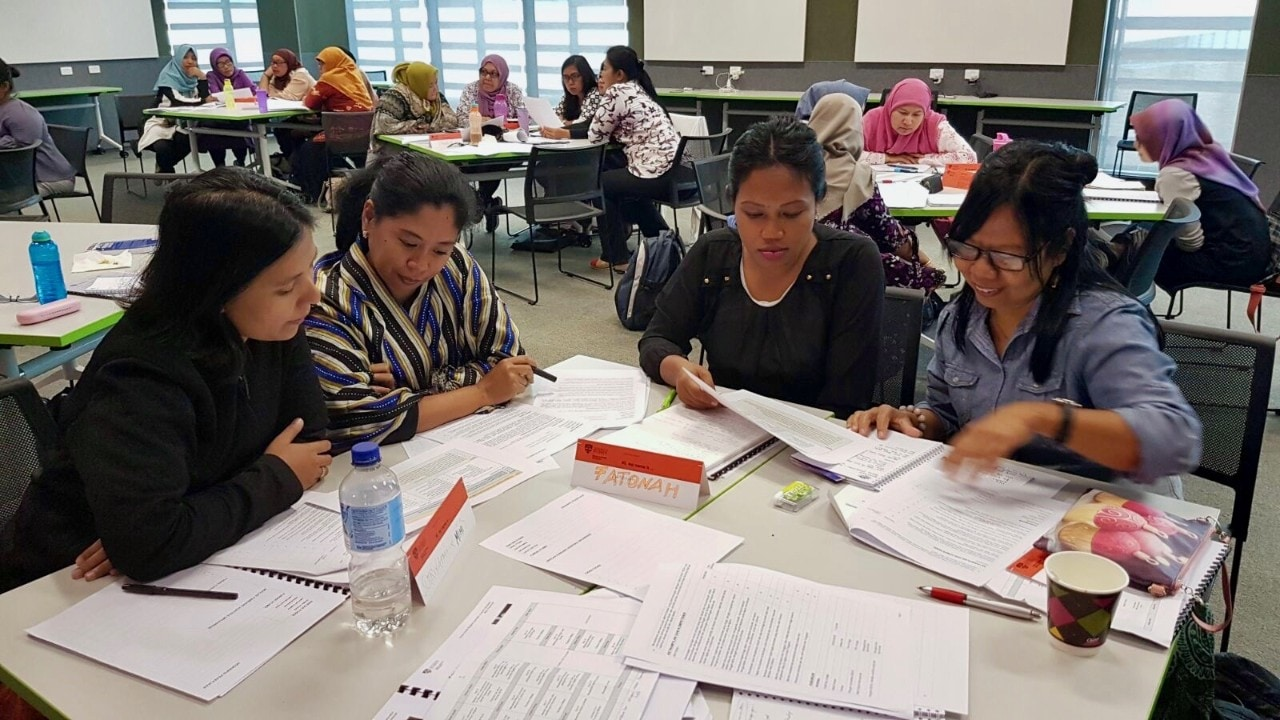 The Indonesian leaders participating in a workshop session.