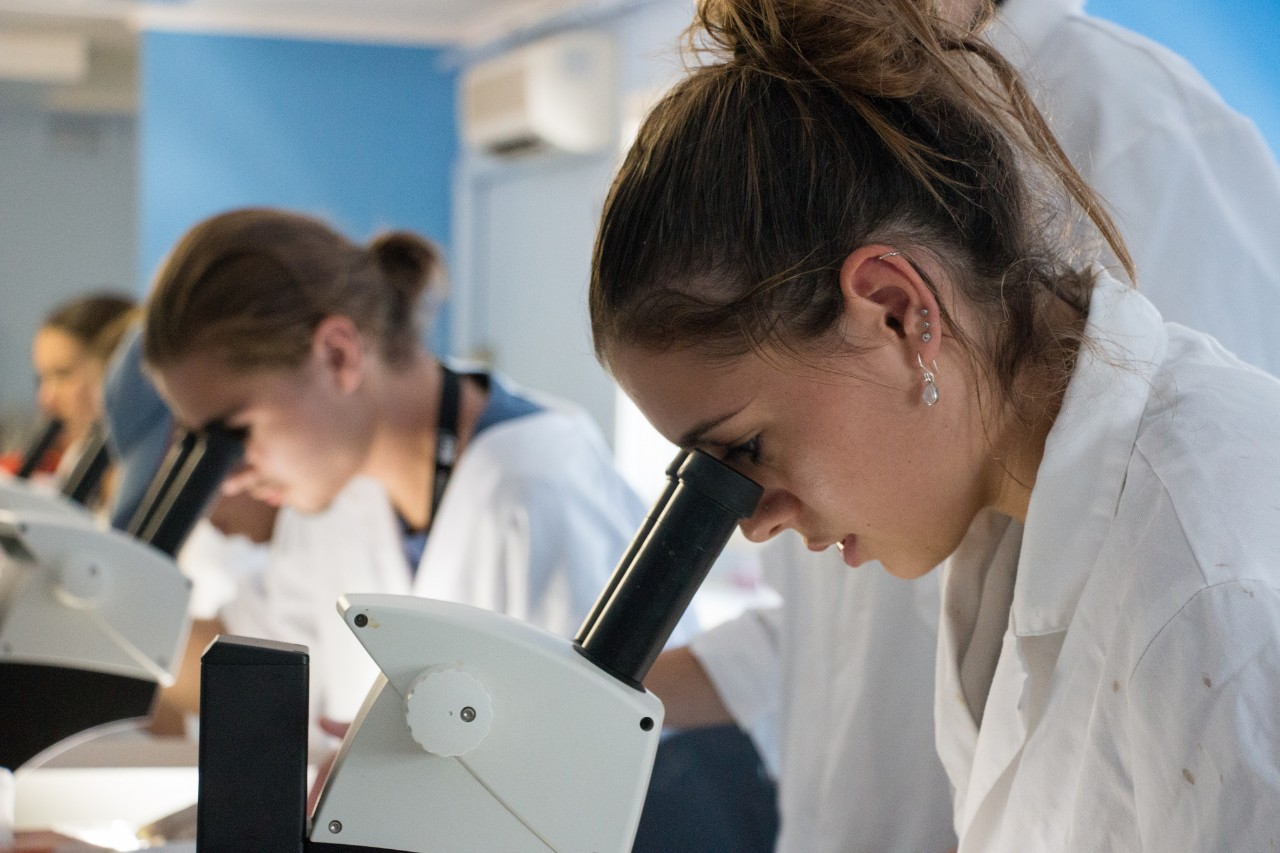 A photo of students from the 2017 Summer Program looking through a microscope