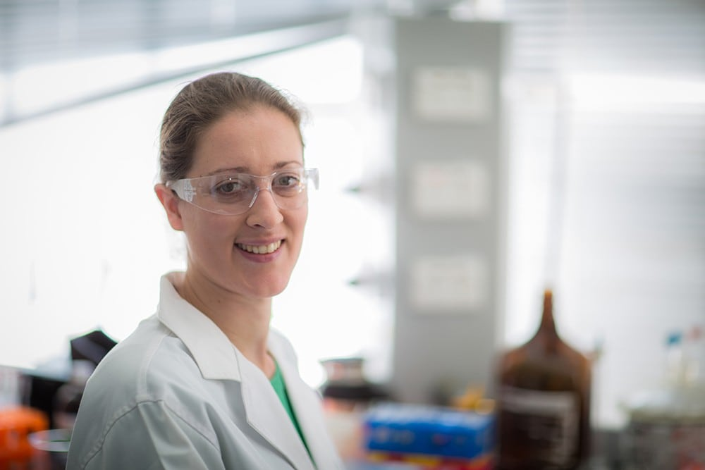 Dr Liz New in her chemistry lab.