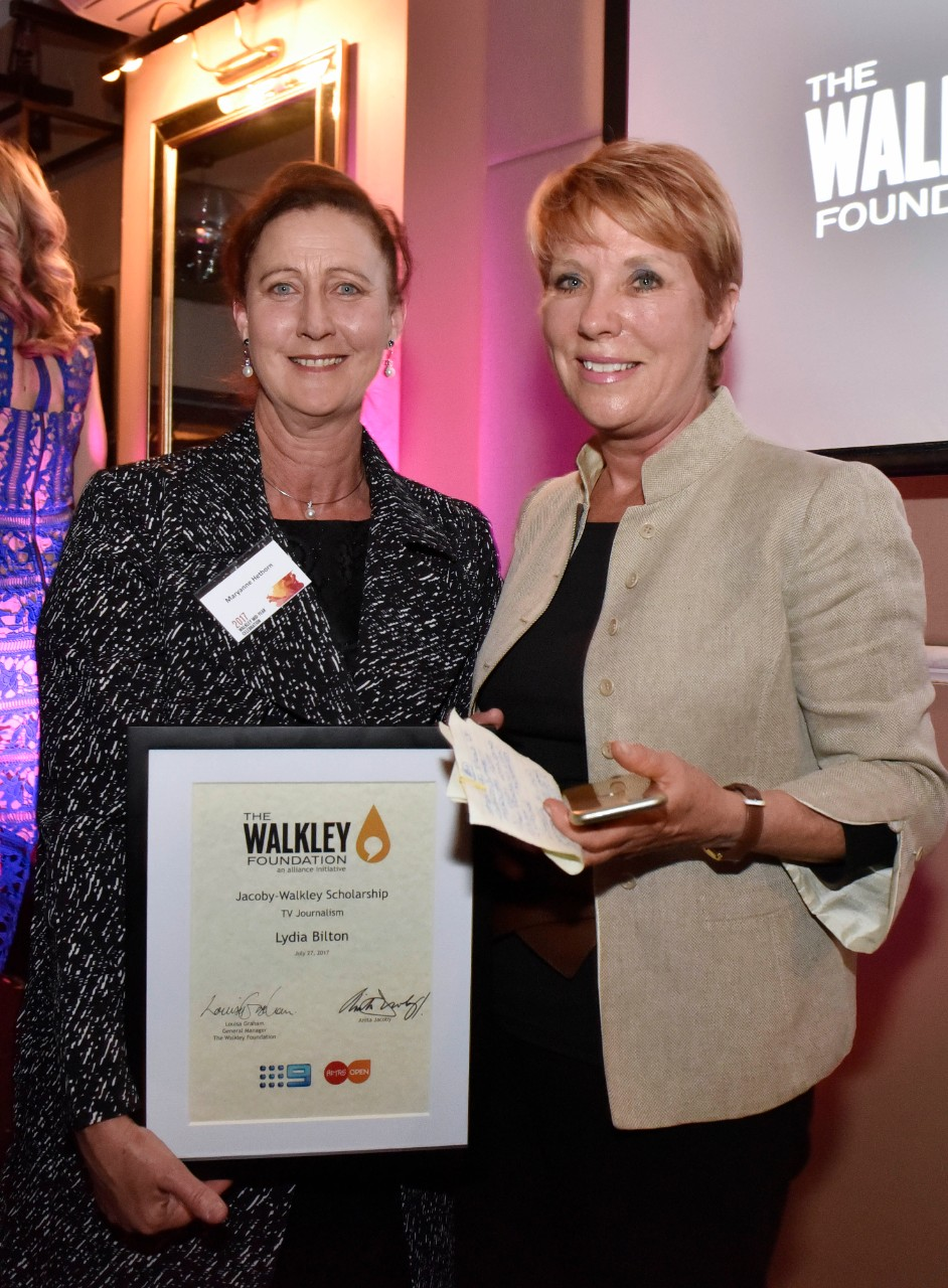 2017 Jacoby-Walkley Scholarship awarded by senior TV Producer Anita Jacoby and collected by Lydia Bilton's mother Maryanne Hethorn