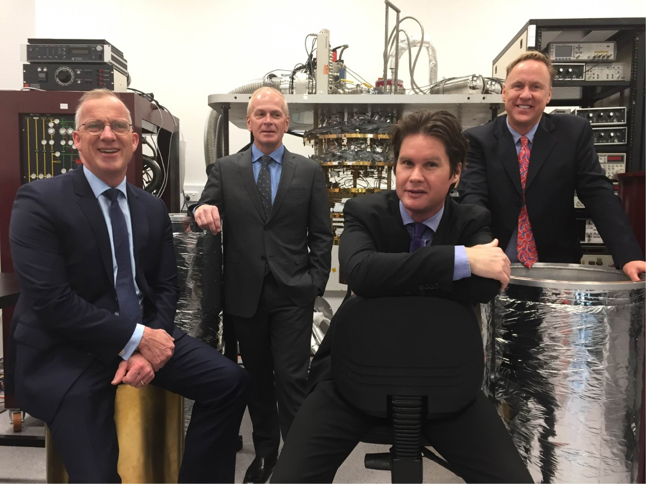Dr Michael Spence, Douglas Carmean, Professor David Reilly and David Pritchard from Microsoft at the University's Sydney Nanoscience Lab.