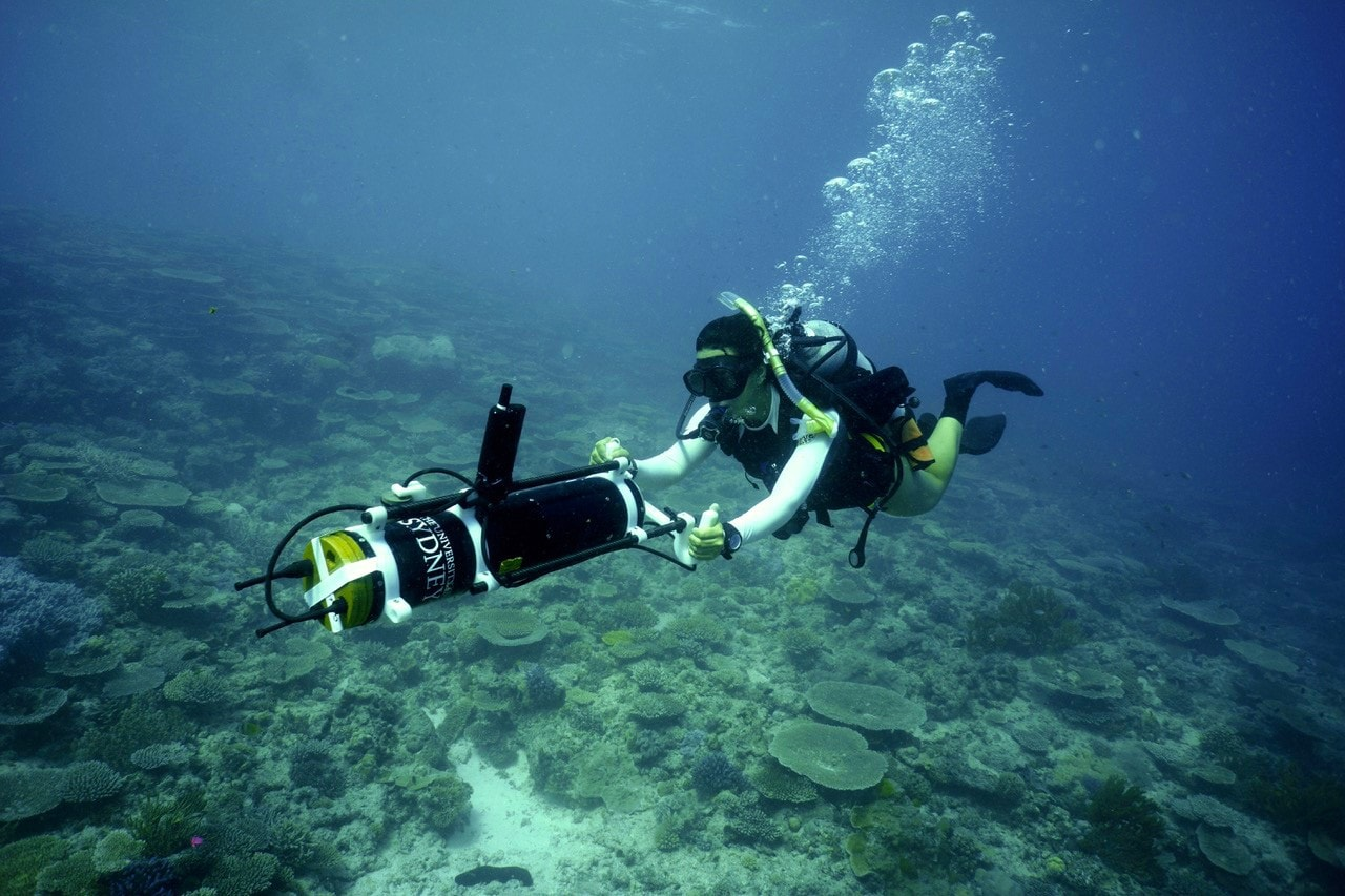 University of Sydney researcher mapping the Great Barrier Reef.