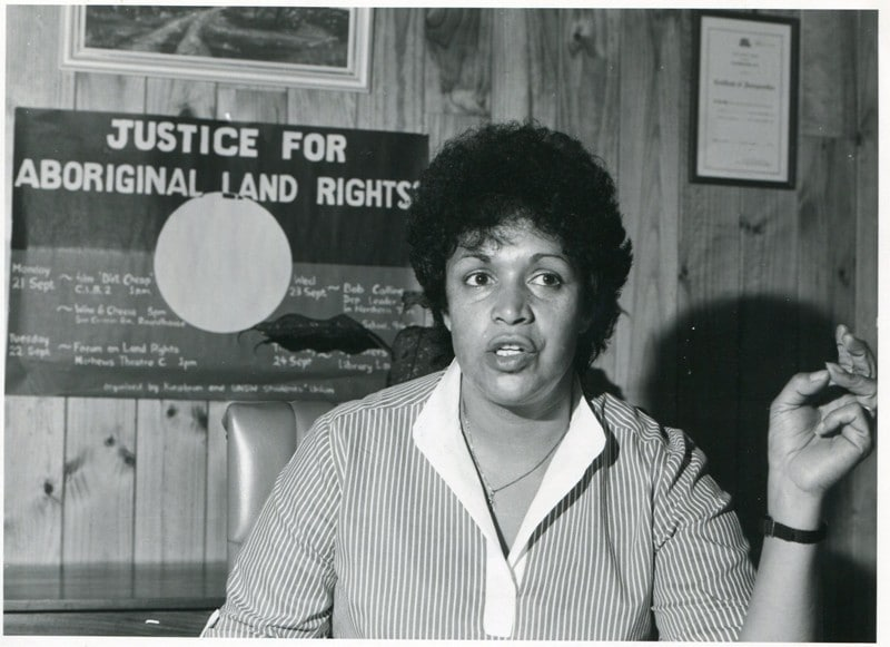 A photo of Naomi Mayers at the Aboriginal Medical Service in Redfern, Sydney in the early 80s