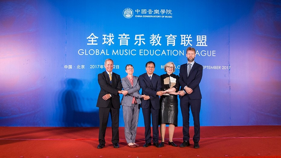 Elected members of the newly formed Global Music Education League: Professor Jamal Rossi, Professor Anna Reid, Mr Wang Liguang, Professor Anne Walters Robertson and Professor Kaarlo Hildén.