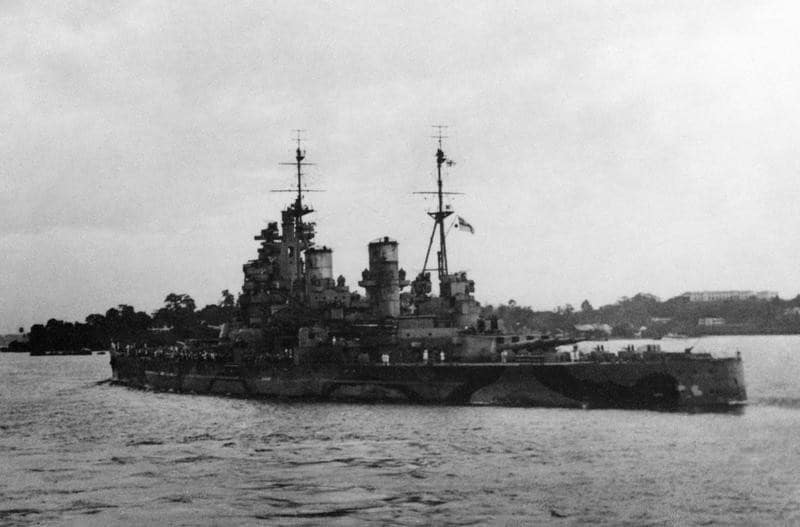 HMS Prince of Wales leaves Singapore on 8 December 1941.