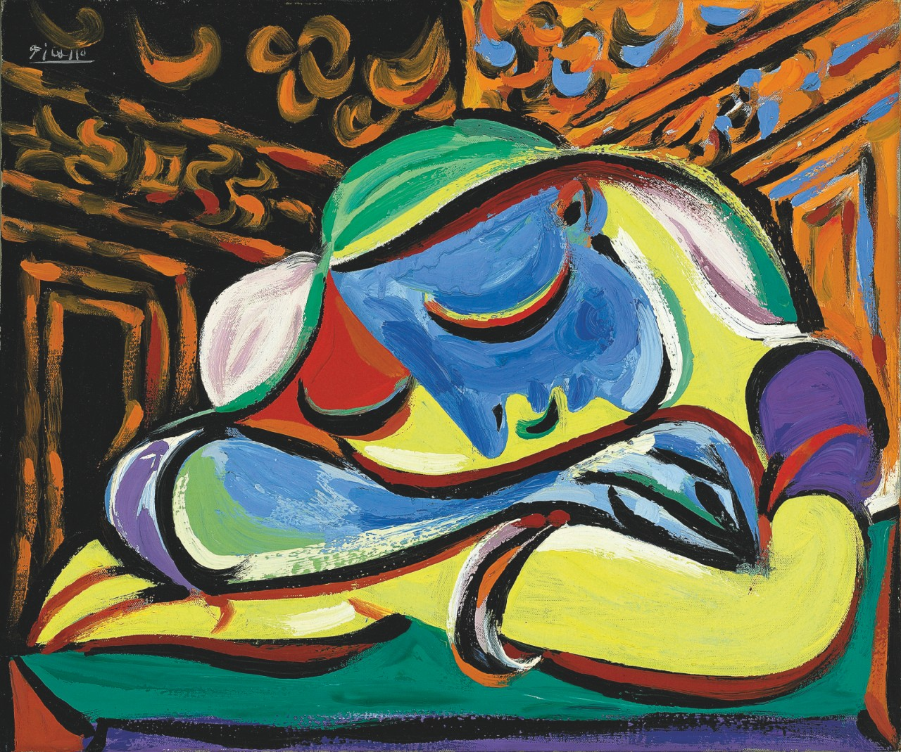 A colourful painting of a woman resting her head on her arms, eyes closed.
