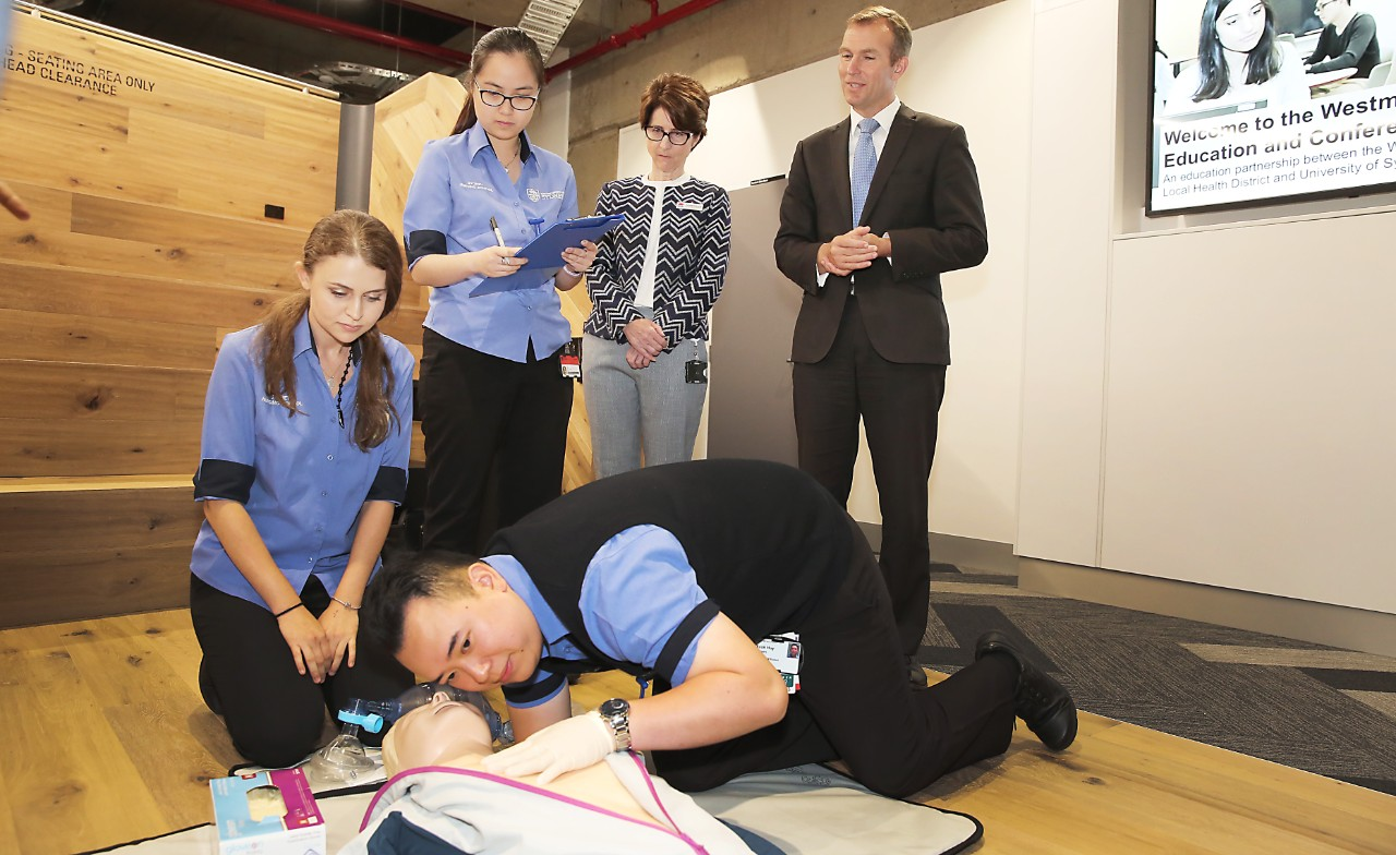 NSW Education Minister Rob Stokes inspects the Westmead Education and Conference Centre