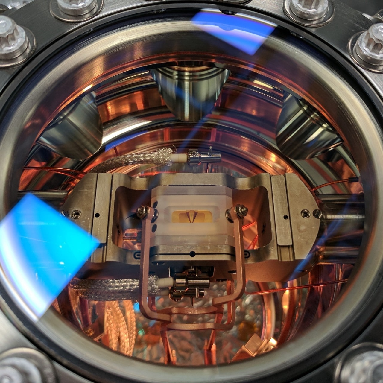 An ion trap at the University of Sydney's Quantum Control Laboratory. Ion traps are used to confine individual atoms for experiments in quantum control and quantum computing. Credit: Professor Michael Biercuk