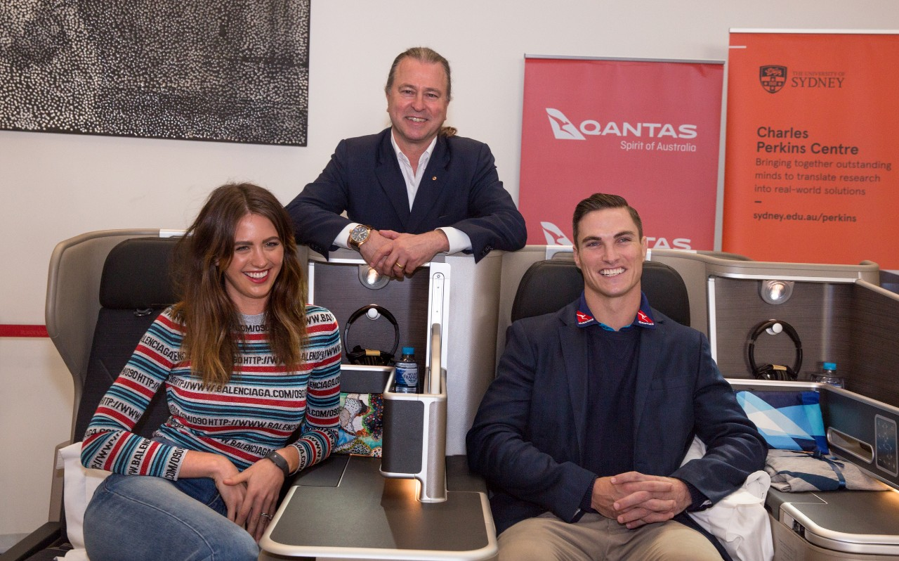 Qantas frequent flyers Jesinta Franklin and Ed Jenkins, with Neil Perry.