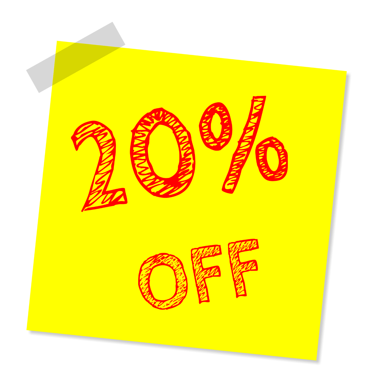 20 per cent off post-it note