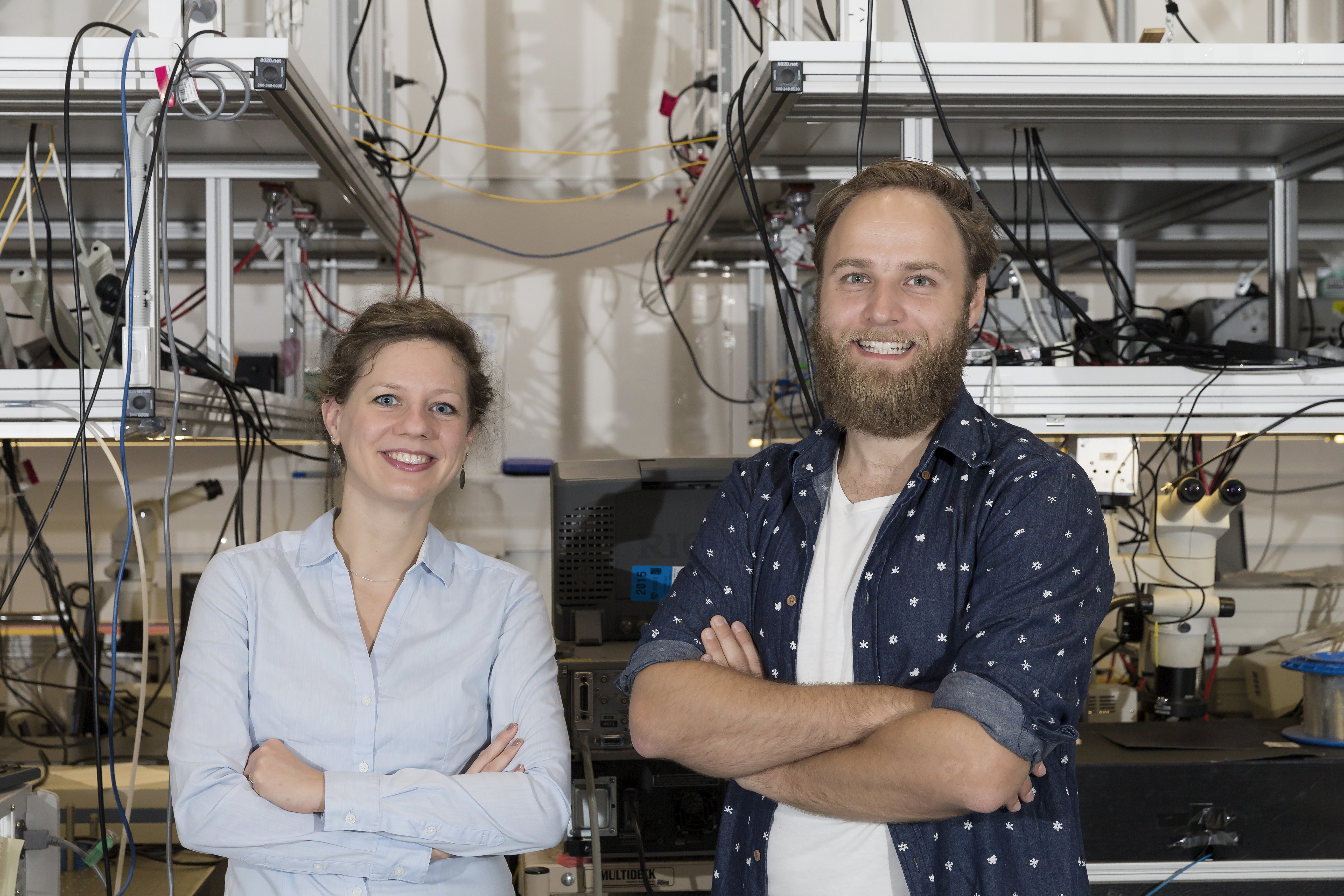 Dr Birgit Stiller (left) and Moritz Merklein at the Sydney Nanoscience Hub. Photo: Louise Cooper