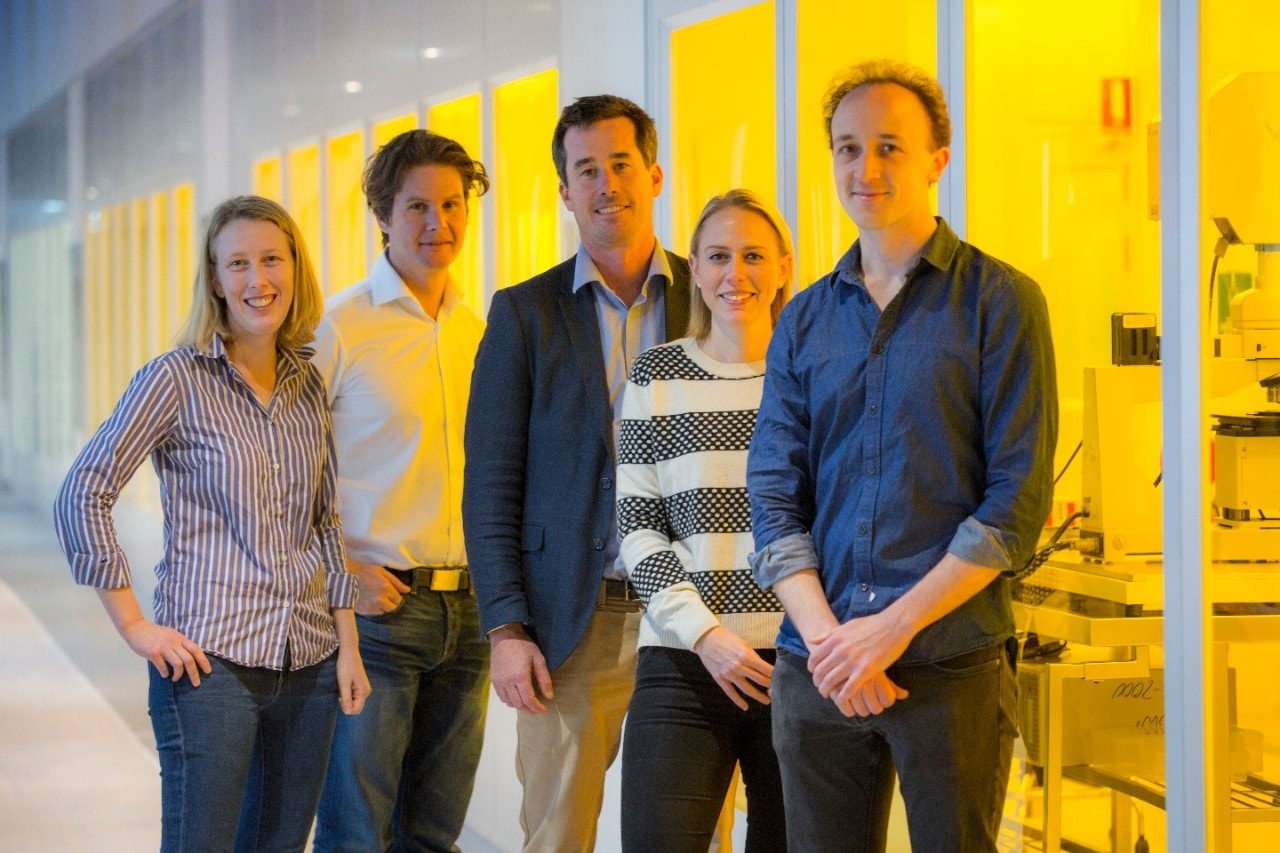 Dr Maja Cassidy (left) with Station Q Sydney team members, including director Professor David Reilly (second left). Credit: AINST