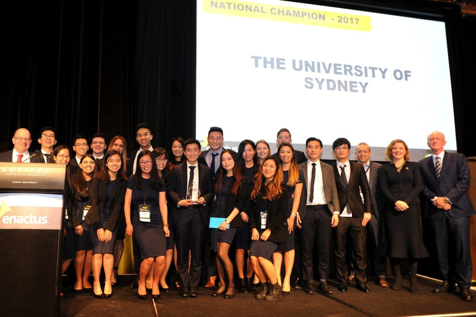 Students from Enactus Sydney being presented with their award at the National Conference.