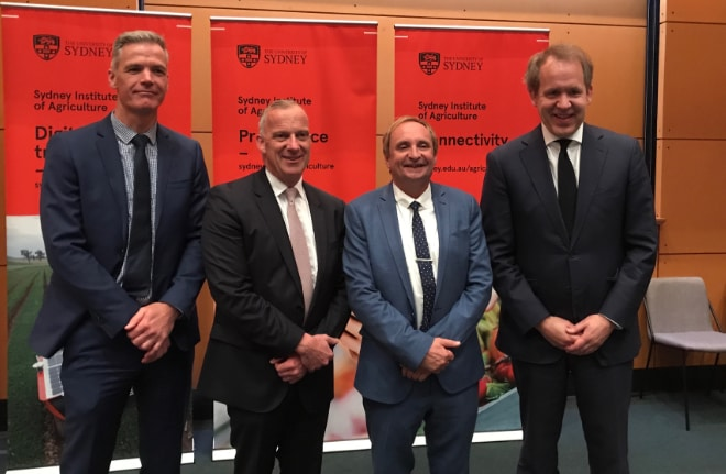 Tony Mahar standing in for National Farmers' Federation president Fiona Simson, with University of Sydney Vice-Chancellor and Principal Dr Michael Spence, Sydney Institute of Agriculture Professor Alex McBratney and Deputy Vice-Chancellor (Reserach) Professor Duncan Ivison at the launch.