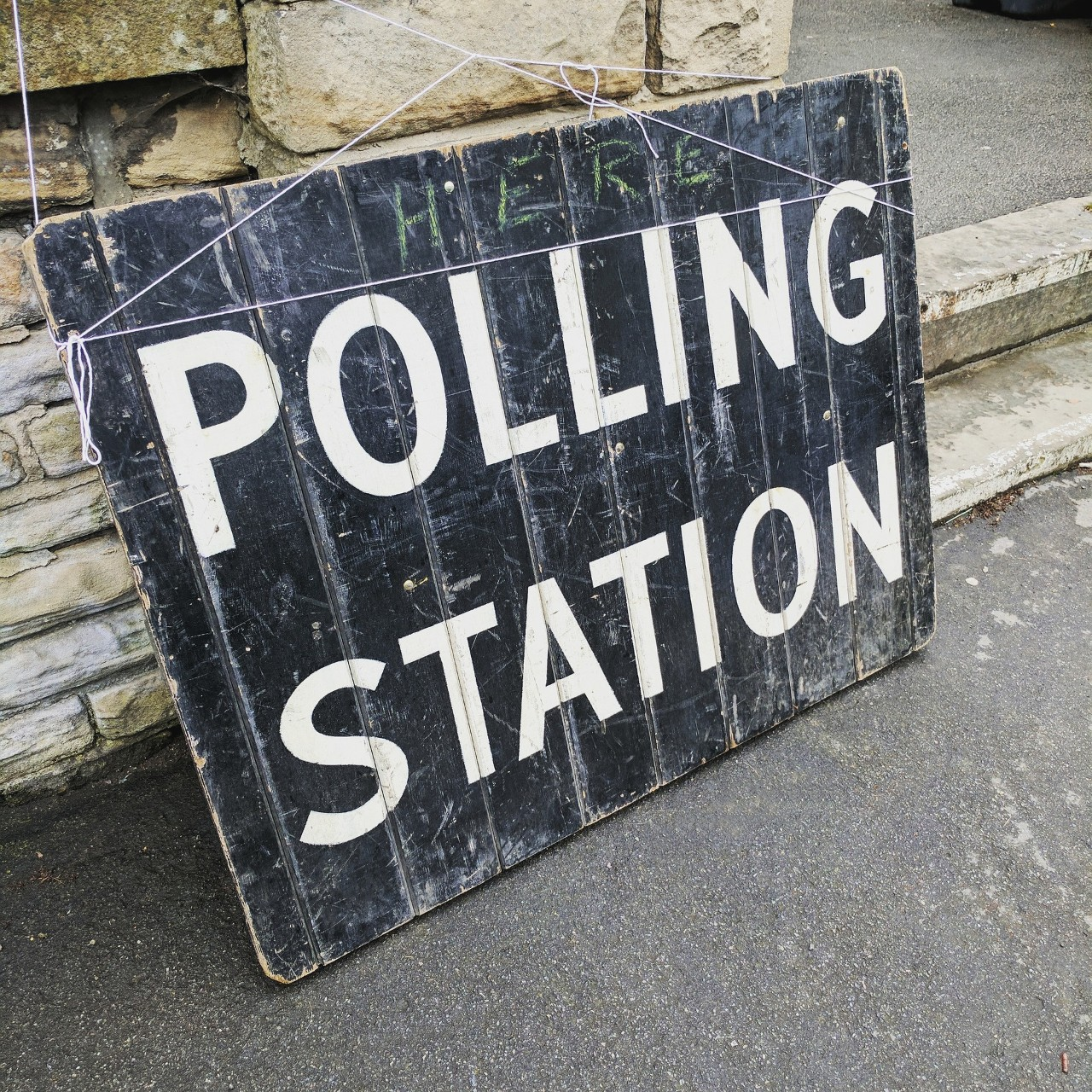 Sign for a polling station