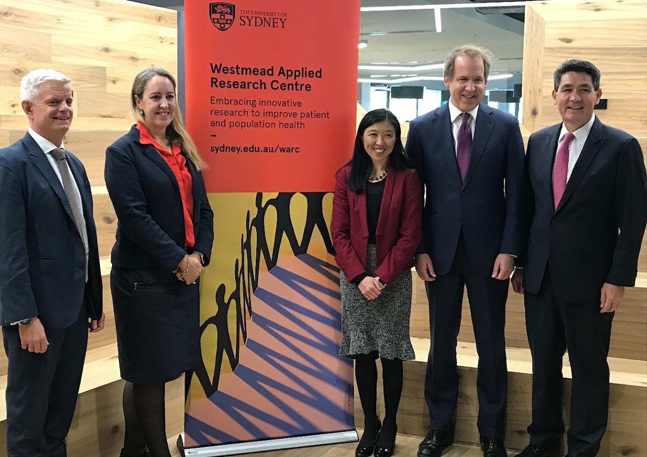 Professor Chris Peck, Associate Professor Julie Redfern, Professor Clara Chow, Professor Duncan Ivison ans Dr Geoff Lee MP