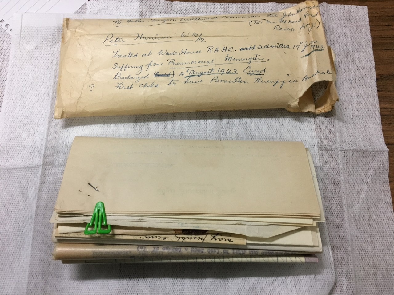 The 'penicillin papers'. Image courtesy: The Children's Hospital at Westmead.