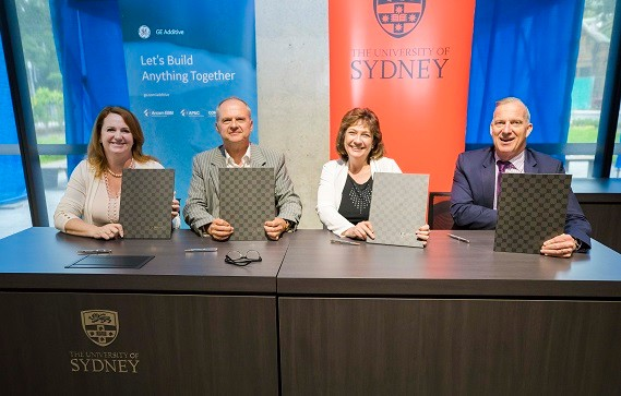 GE Additive COO Debra Rogers and Vice President Dr Christine Furstoss signing the new agreement with University of Sydney Pro-Vice-Chancellor Professor Laurent Rivory and Vice-Chancellor and Principal Dr Michael Spence.