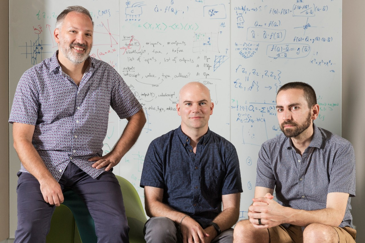 Professor Stephen Bartlett (left), David Tuckett and Associate Professor Steven Flammia, members of the Quantum Theory group, in the Sydney Nanoscience Hub. Credit: Louise Cooper/University of Sydney