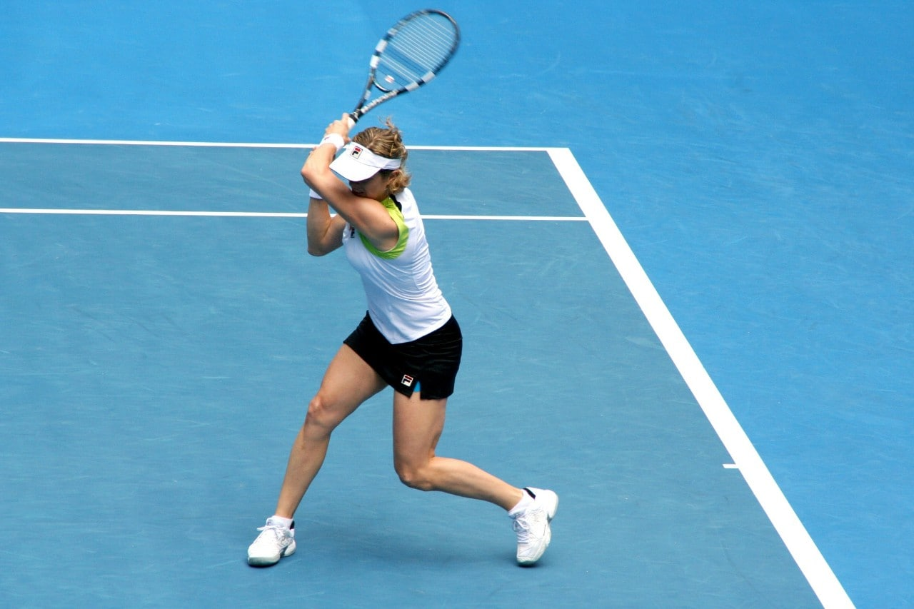 Female tennis player on court