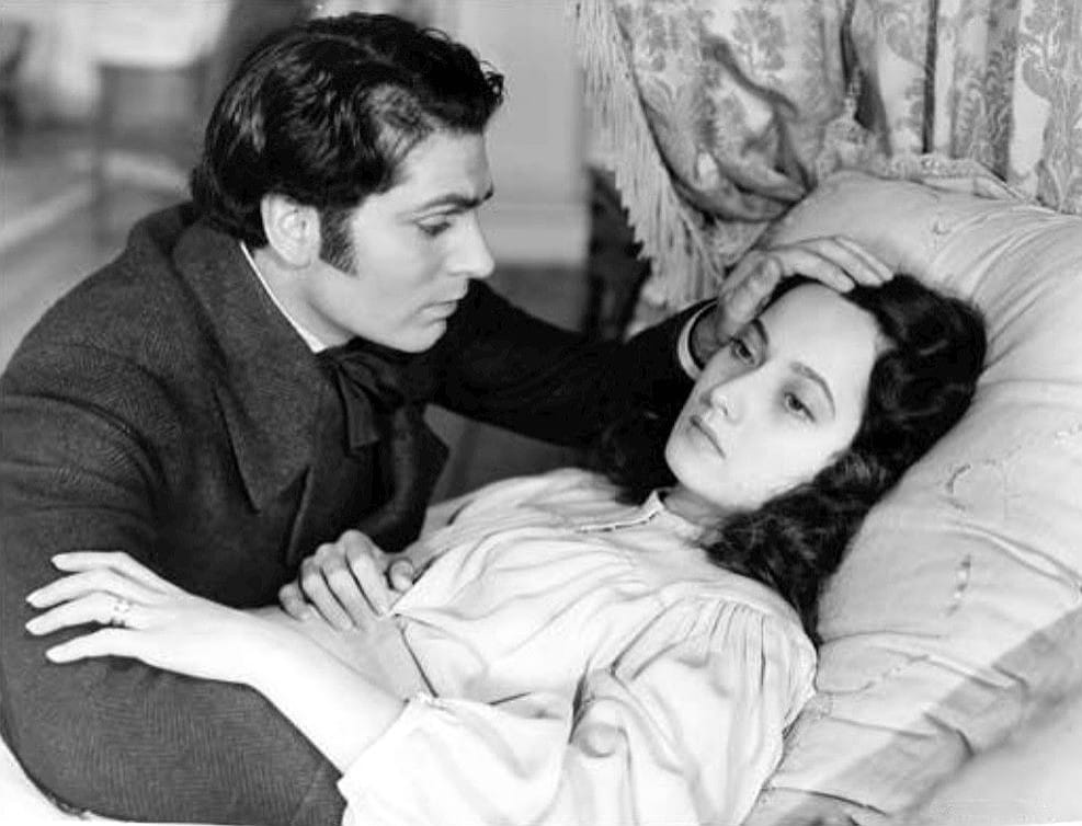 Sir Laurence Olivier (Heathcliff) and Merle Oberon (Cathy) from the 1939 film adaptation of Wuthering Heights