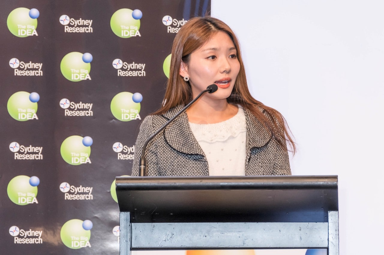 PhD candidate Sally Kim pitches at Sydney Research's Big Idea event.