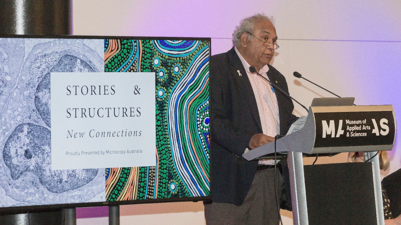 Tom Calma AO at the exhibition launch during a Vivid Sydney event at the Powerhouse Museum, Sydney.