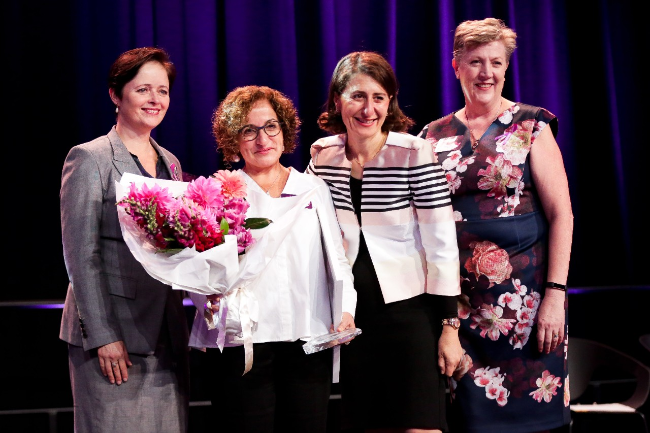 (L-R): Minister for Women Tanya Davies, Professor Hala Zreiqat, Premier Gladys Berejiklian and First State Super's Mary Murphy.