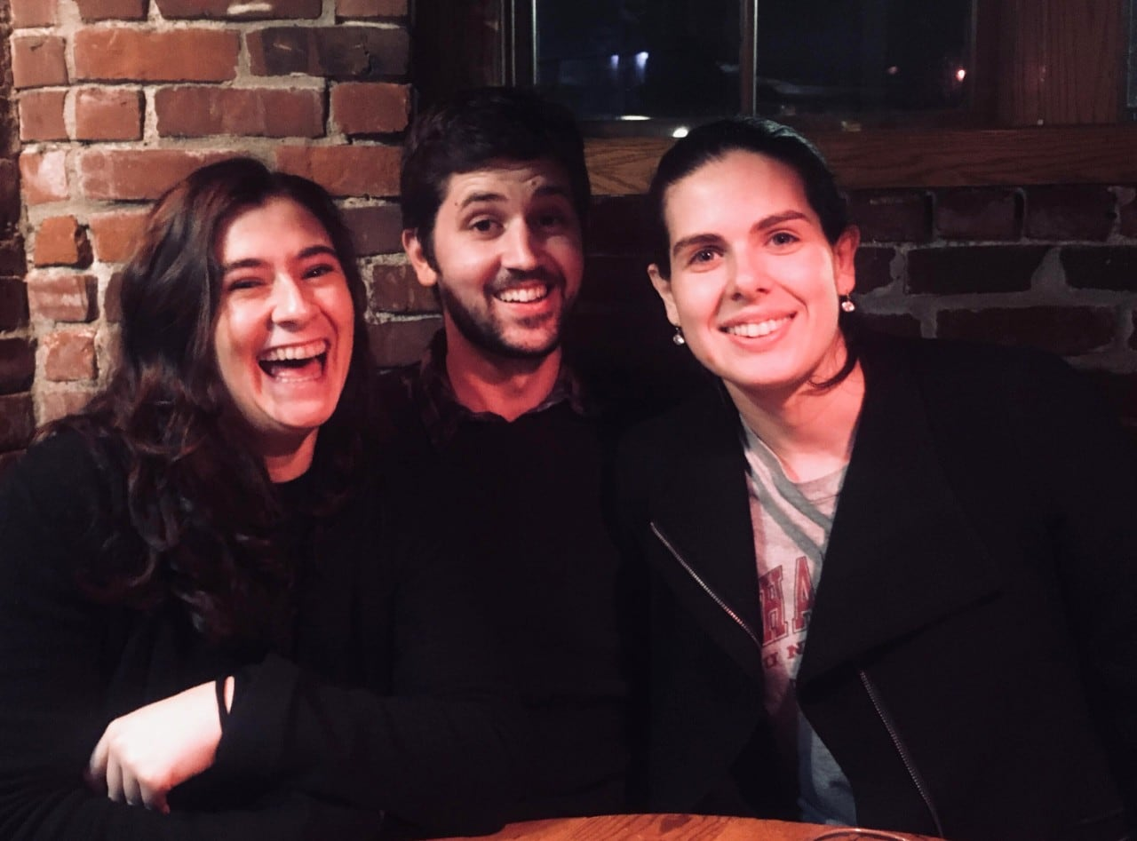 Department of Philosophy PhD students Dominic Dimech, Elena Gordon and Lucinda Nicolls Small in the US.