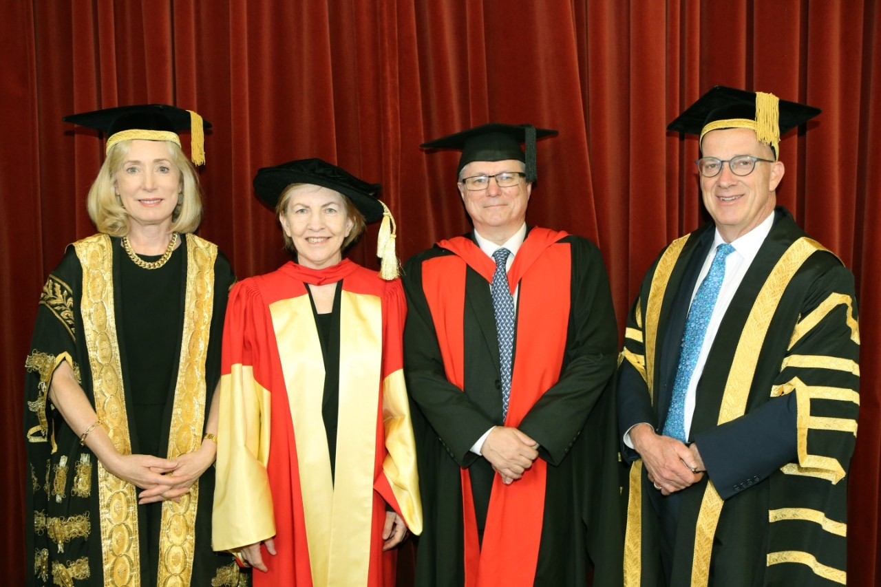 Chancellor Belinda Hutchinson AM, Professor Mary O'Kane AC, Science Dean Professor Iain Young and Vice-Chancellor Dr Michael Spence AC
