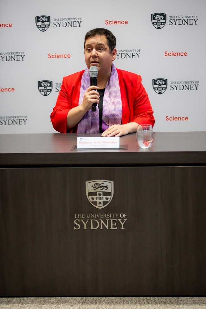 Professor Jacqui Ramagge at a press conference on Monday.