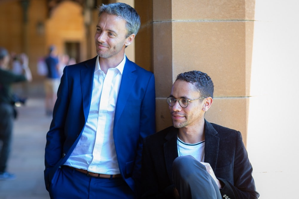 Professor Geordie Williamson (left), director of the University of Sydney Mathematical Research Institute, with Jared Field, a Charles Perkins Scholar at Balliol College, University of Oxford.