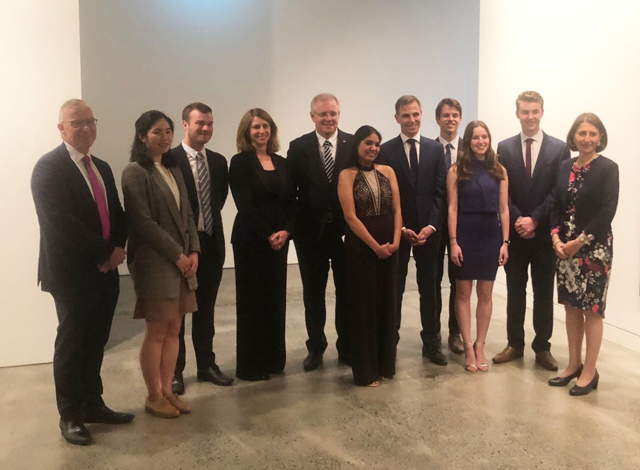 Vice-Chancellor Dr Michael Spence, Prime Minister Scott Morrison, NSW Premier Gladys Berejiklian, Lendlease Australian Property CEO Kylie Rampa and Daily Telegraph Editor Ben English with the finalists of the Lendlease Bradfield Urbanisation Scholarship.