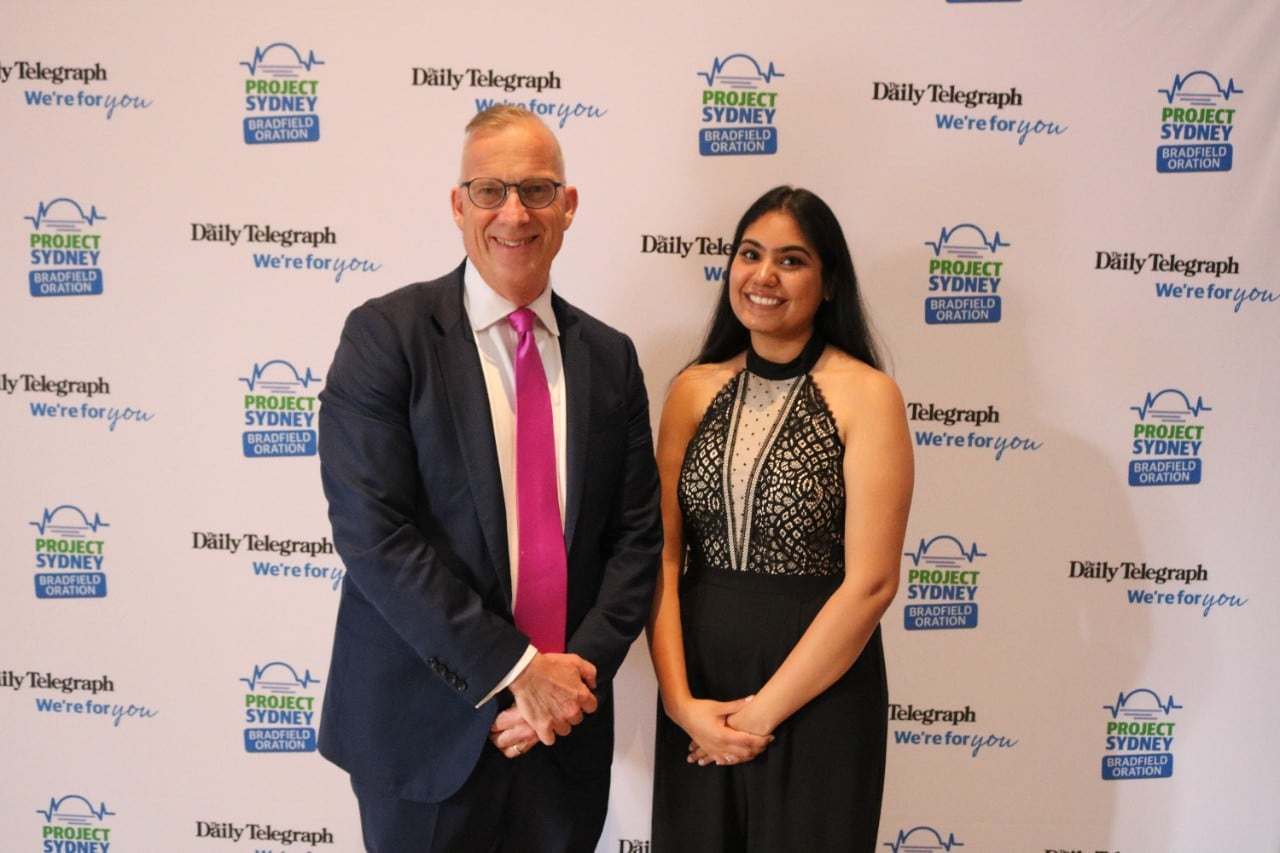 Vice-Chancellor Michael Spence with economics/law student Kavya Nagpal at the Bradfield Oration.