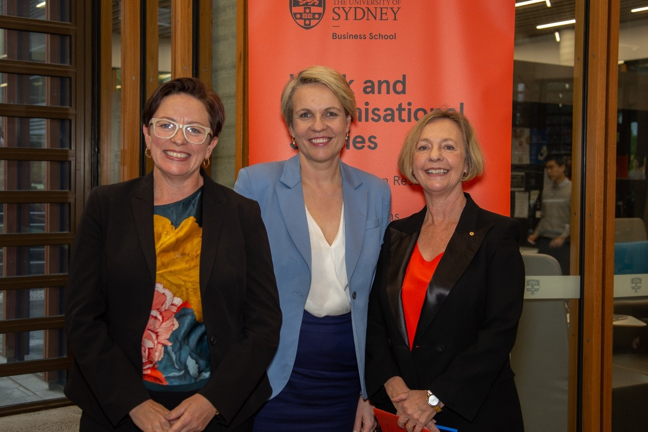 Professor Rae Cooper, The Hon Tanya Plibersek MP and Professor Marian Baird at the University of Sydney Business School