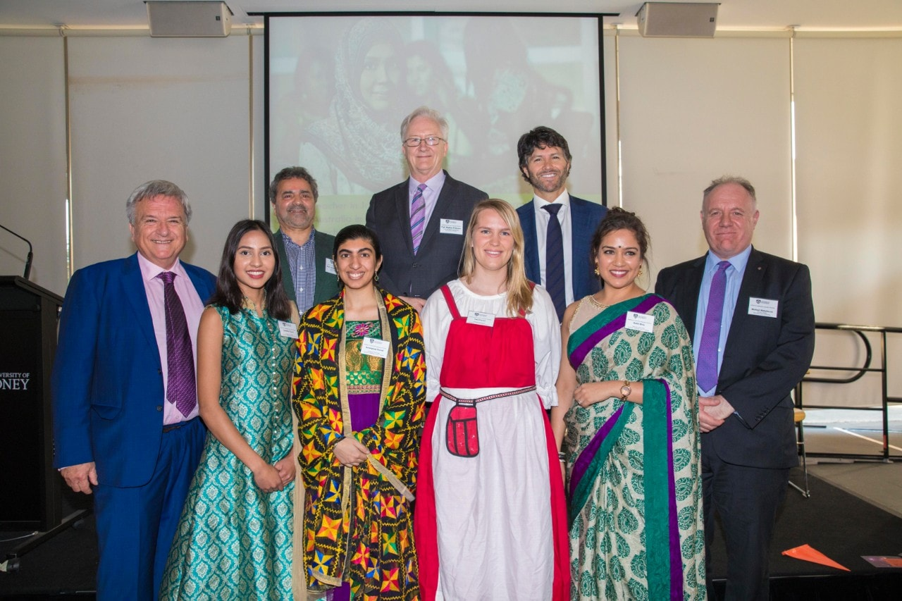 Associate Professor Ken Cruickshank, Professor Joe Io Bianco, Professor Stephen Garton, Minister Victor Dominello, Michael Waterhouse, and Language Ambassadors Carmila Chand, Amanpreet Jamal, Tess Frazer and Rakhi Birla at the Sydney Institute of Community Languages Education launch.