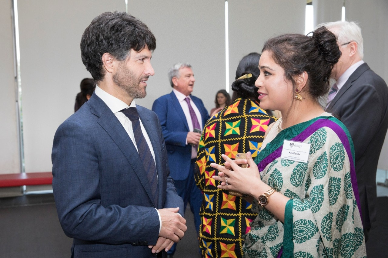 Languages Ambassador Rakhi Birla speaks to Minister of Finance Victor Dominello