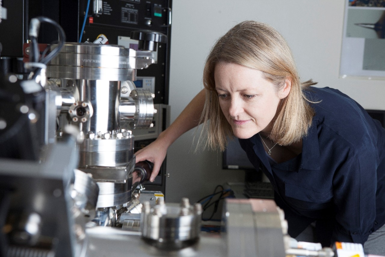 Professor Julie Cairney using an atom probe at the University of Sydney.