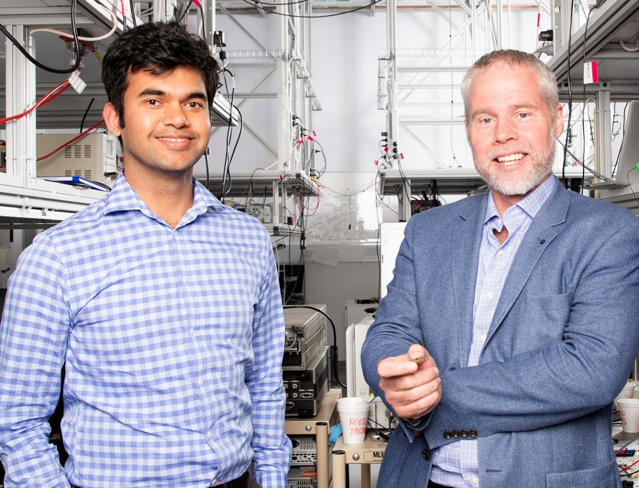 Dr Amol Choudhary (left) and Sydney Nano Director Professor Ben Eggleton in one of the photonics labs at the Sydney Nanoscience Hub.
