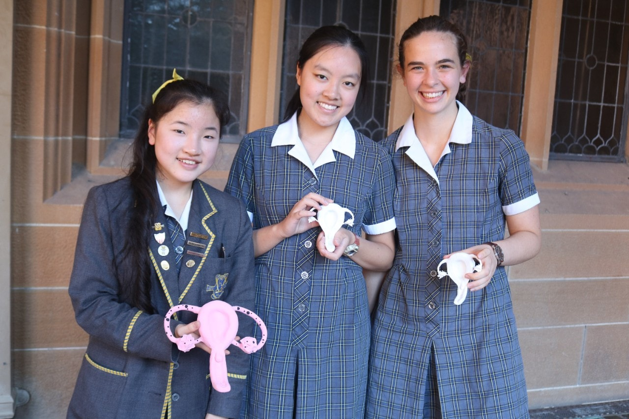 Kambala students Emily Su, Emily Shen and Alex Bako with their 3D printed uterus models.
