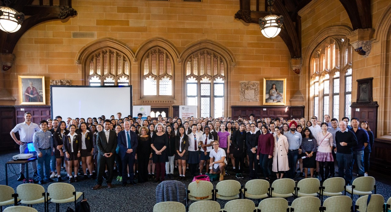 Vice-Chancellor Dr Michael Spence with the 200 NSW high school students who were asked to identify innovative solutions to some of the world's most complex medical challenges.