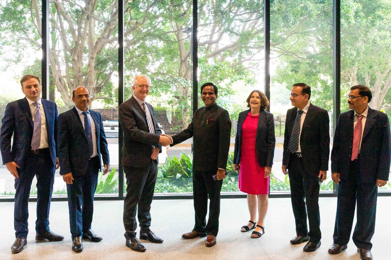 University of Sydney's Senior Deputy Vice-Chancellor Professor Stephen Garton and Professor Gail Pearson welcome Indian Minister of State for Consumer Affairs, Food and Public Distribution Shri Raosaheb Dadarao Danve to the University