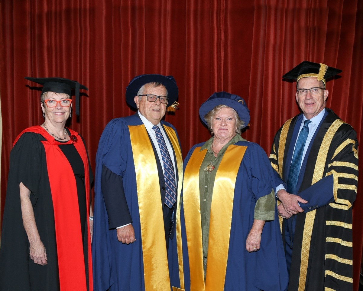 Barry and Joy Lambert (centre) with Professor Cheryl Jones, Head of School and Dean, Sydney Medical School, and Vice-Chancellor and Principal, Dr Michael Spence (L-R).