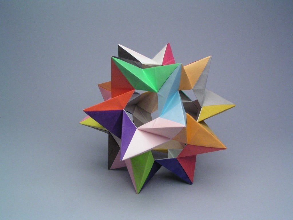 photo of an origami paper folded tetrahedron