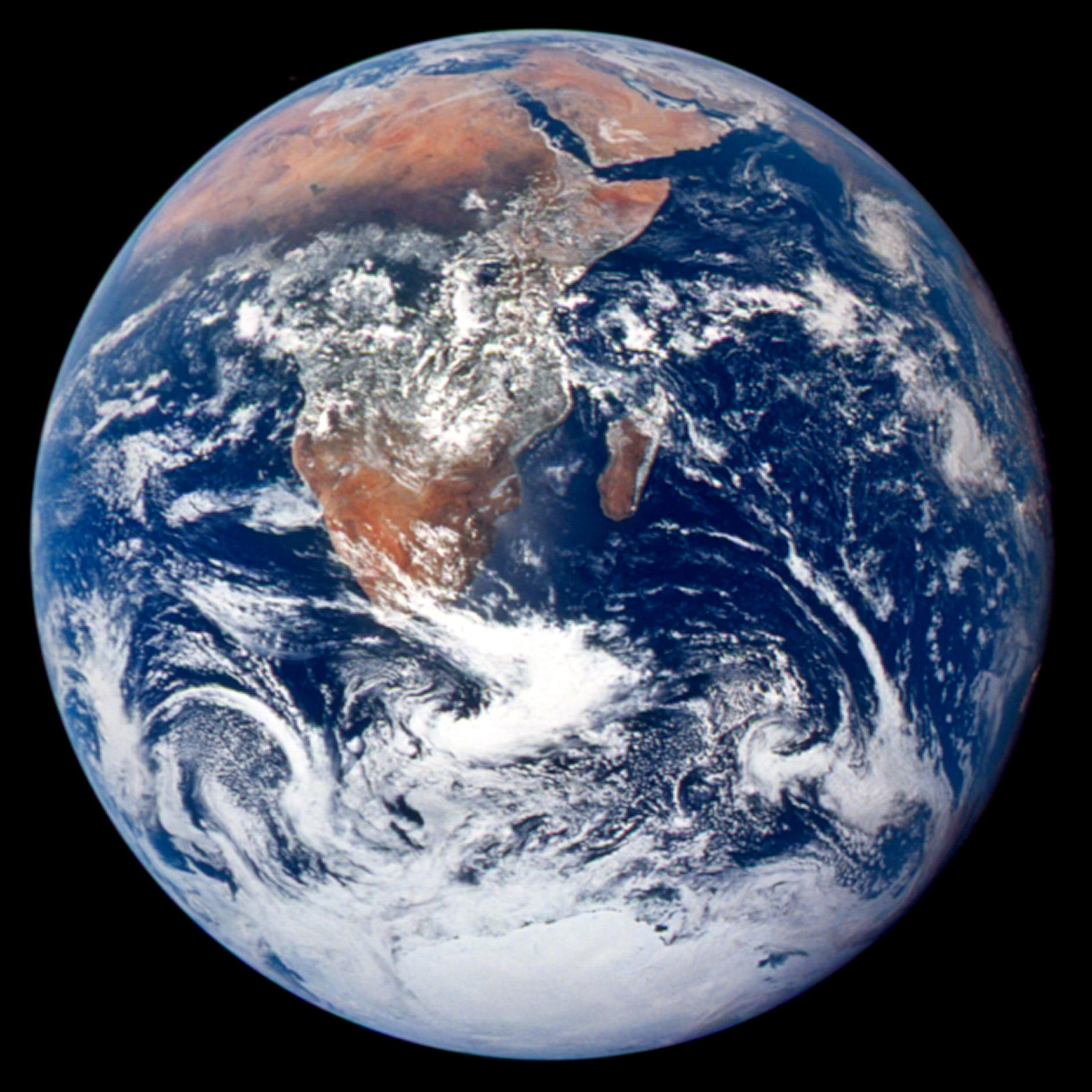 The first picture of the entire planet Earth was captured on the Apollo 17 mission in 1972. Photo credit: NASA
